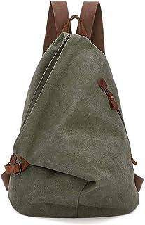 Retro Segeltuch Rucksack Canvas Vintage Rucksäcke Echtleder Daypack Reisetasche Schulterrucksack für Herren Damen 6882-Olive Green