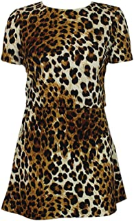 Matching Set of A-line Mini Skirt and Crop Top Tshirt in Fun Animal Print