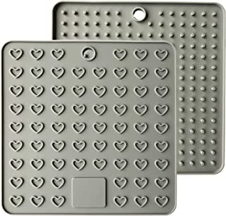 AINAAN 2 Pcs Square Premium Silicone Pot Holder,Trivets, Mitts,Heat Resistant Hot Pads, 7.28 Inch, Gray