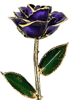 Deep Purple Laquered 24k Gold Dipped Long Stem Genuine Rose In Gift Box