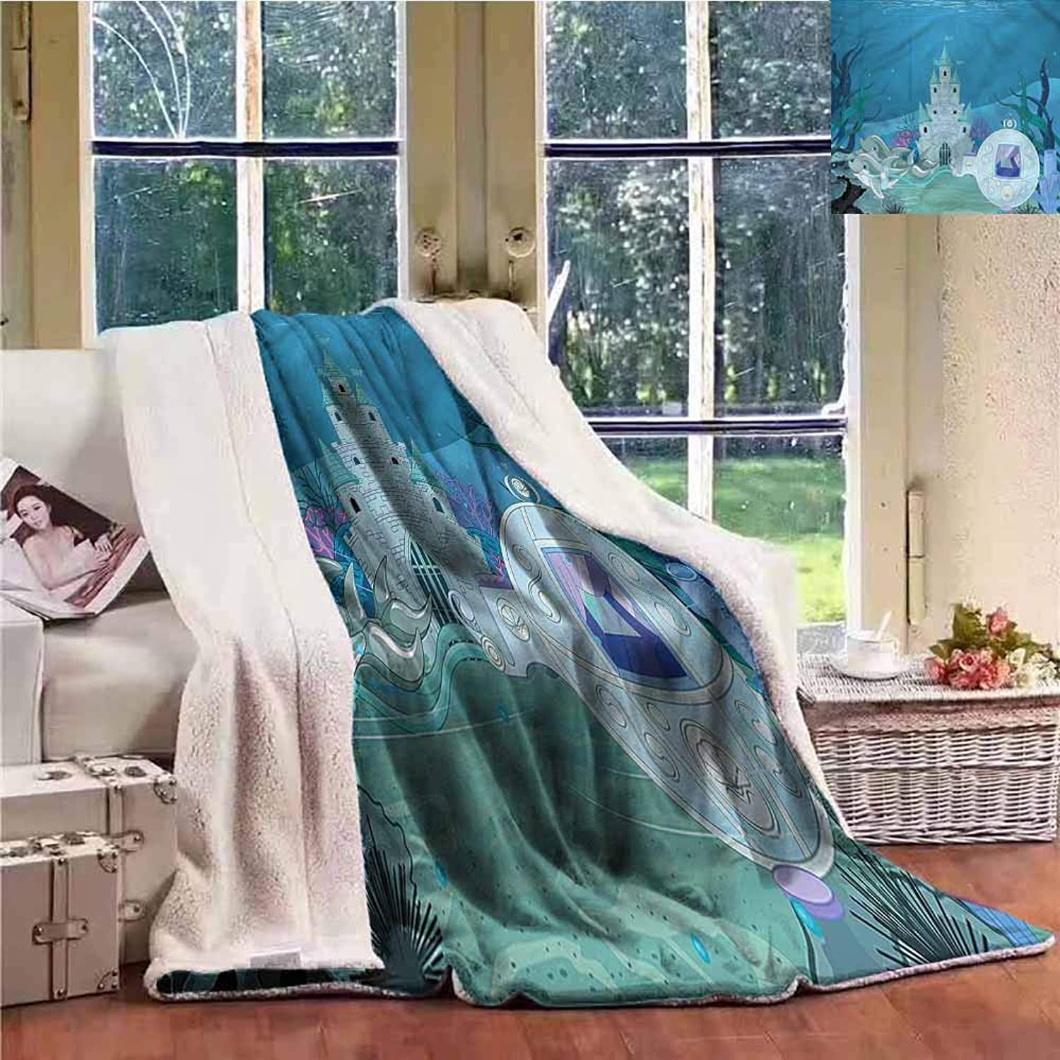 Sunnyhome Baby Blanket Ocean Fairytale Mermaid Castle Blanket for Family and Friends W59x31L