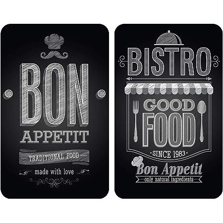 WENKO Protection plaque de cuisson, «Bon Appetit», plaque de protection induction, gazinière, vitrocéramique, verre trempé, Lot de 2, 30x52 cm