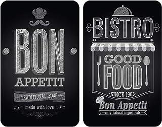 WENKO Plaque de protection en verre universel Bon Appétit - set de 2, pour tous les types de cuisinières, Verre trempé, 30...