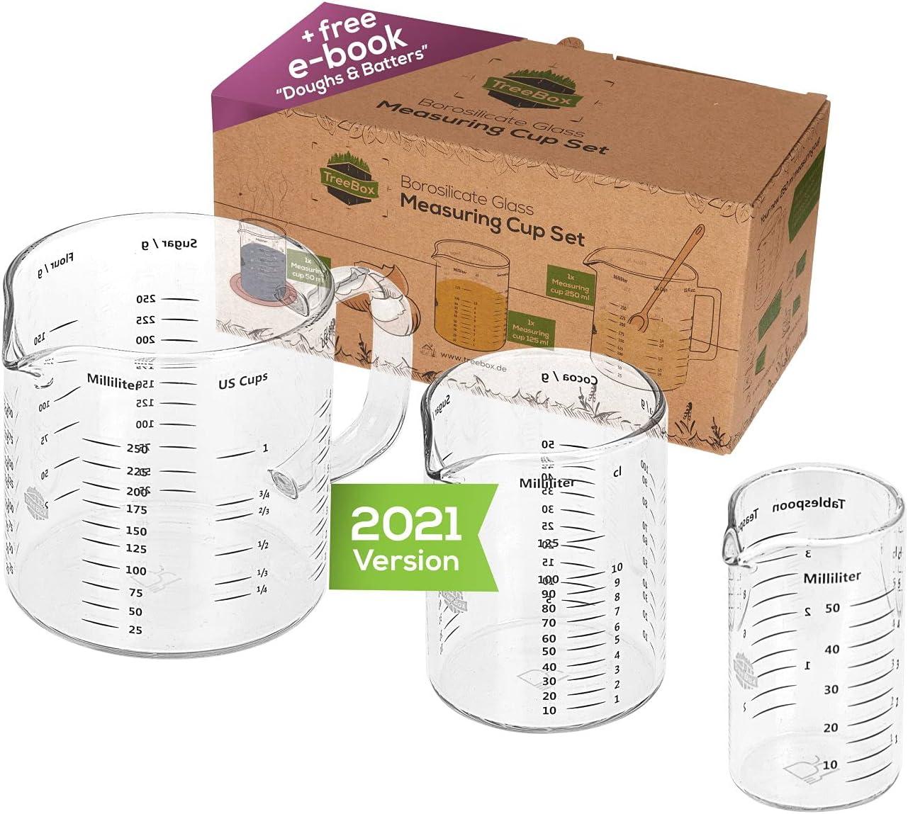 TreeBox Taza medidora de vidrio con pico - 3 piezas - Resistente al calor y apto para microondas – Diferentes unidades de medida - Perfecto para hornear, cocinar y mezclar