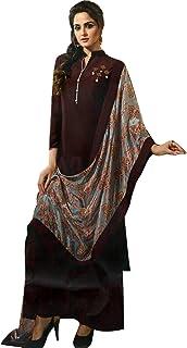 Ladyline Women's Sunfill Silk Long Tunic Top Plain Embroidered 3/4 Sleeves Stylish Scarf/Shawl Dupatta Kurti Kurta