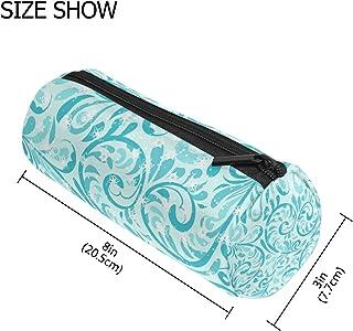 MASSIKOA Teal Flower Winter Snowflake Pencil Case Pen Zipper Bag Coin Organizer Makeup Costmetic Pouch for Women Teen Girl...