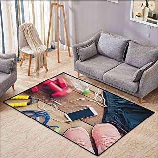 Skid-Resistant Rug,Fitness,Sportswear Running Shoes Cell Phone Water Fitness Preparations Activity Accessories,Children Crawling Bedroom Rug,4'11