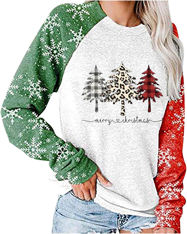 Women Christmas Sweatshirt, Plaid Xmas Tree Printed Pattern Raglan Snowflack Printed Sleeve Crewneck Pullover Tunic Blouse