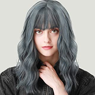 Stamped Glorious Short Wavy Bob Wig with Bangs Shoulder Length Blue Wig with Bangs Synthetic Cospaly Wig for Women Natural Looking Heat Resistant Fiber Hair