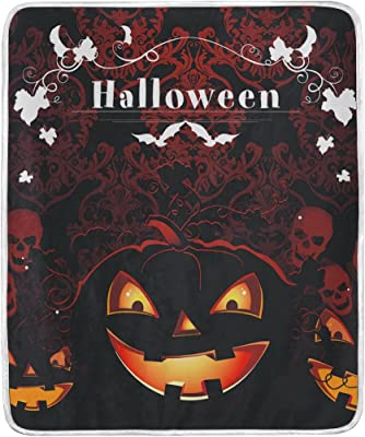 0ec59cf150 U LIFE Happy Halloween Pumpkin Paisley Soft Fleece Throw Blanket Blankets  for Nap Couch Bed Kids