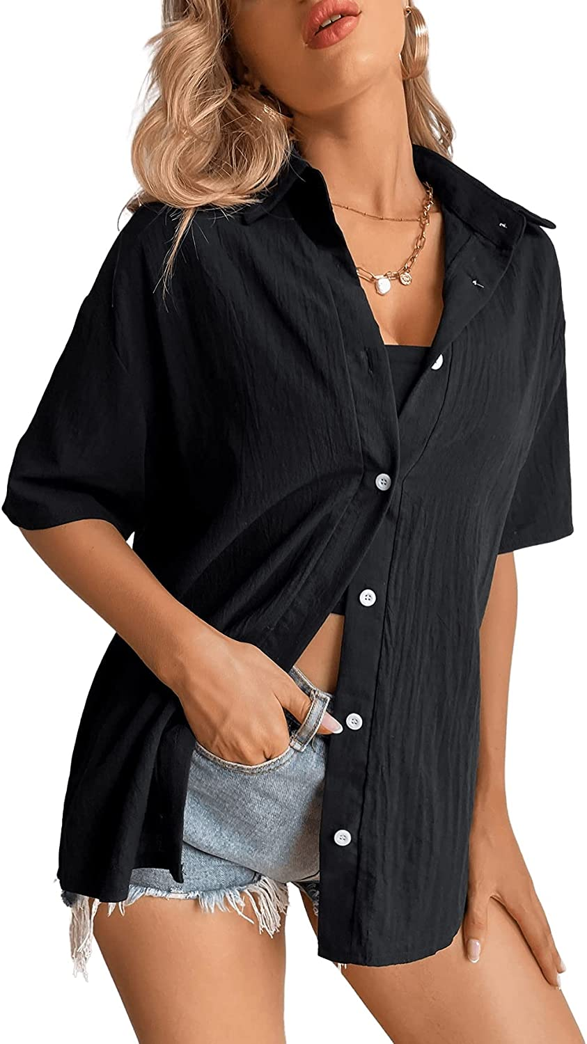 SOLY HUX Women's Button Down Shirt Short Sleeve Casual Blouse Top