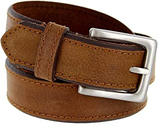 Pele Belt Men Interwoven Bonded Leather /& Cotton Leather Tabs Silver Buckle