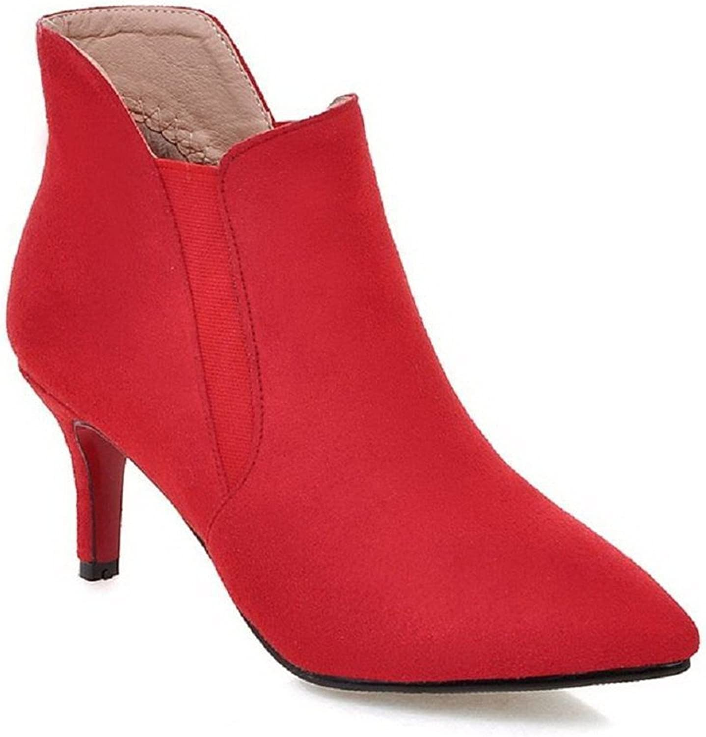 Spearss Elegant Women's Pointed Closed Toe Low-top High-Heels Solid Imitated Suede Boots Hotsell
