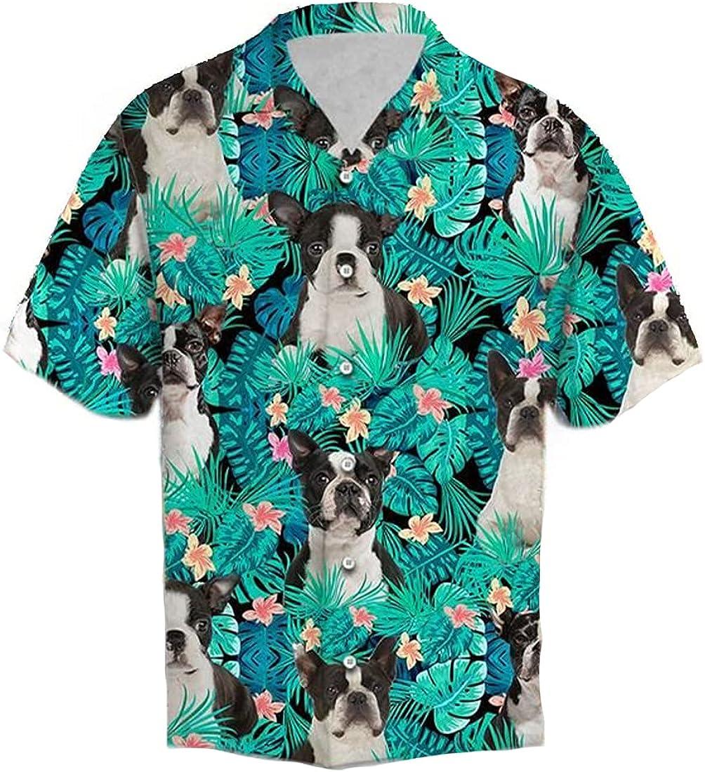 Dog Lover Hawaiian Shirts for Men - Summer Button Down Mens Hawaiian Shirts Short Sleeve Front Pocket Series 34