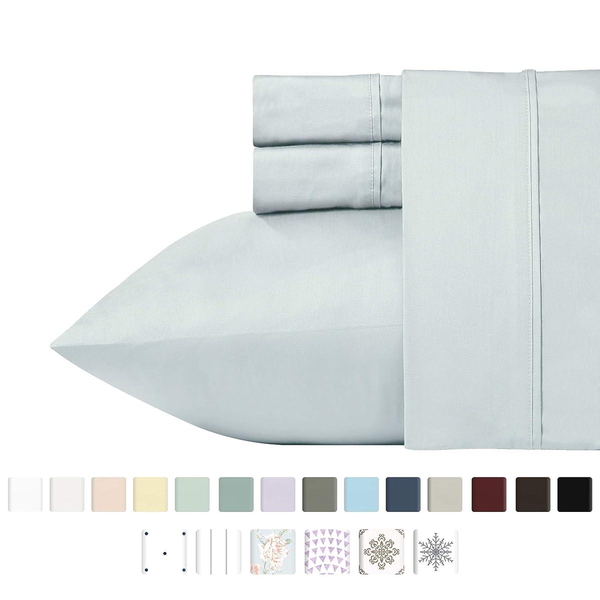California Design Den 400 Thread Count 100% Cotton Sheets - Light Grey Long-Staple Cotton Full Sheets, Fits Mattress Upto 18'' Deep Pocket, Soft Sateen Weave Cotton Bedsheets and Pillowcases