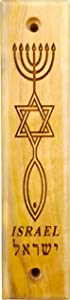 Olive Wood Mezuzah with Scroll, Messianic Symbol - Menorah, Star, & Fish, Made in Israel, Religious Home Décor for Door & Wall, Includes Parchment Prayer Scroll, Jewish & Messianic House Wall Art