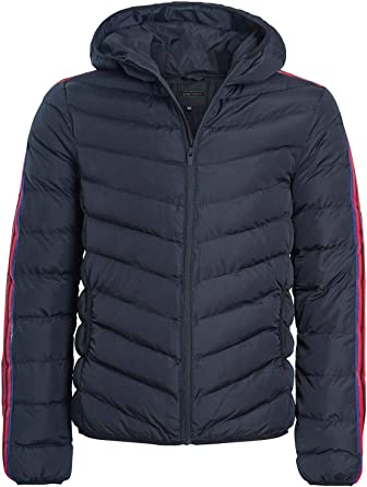 shelikes Mens Quilted Hooded Contrast Stripe Sleeve Zip Up Winter Warm Jacket Coat