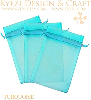 100 Pcs Turquoise 5x7 Sheer Drawstring Organza Bags Jewelry Pouches Wedding Party Favor Gift Bags Gift Bags Candy Bags [Kyezi Design and Craft]