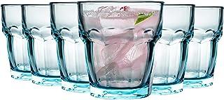 Bormioli Rocco Rock Bar Lounge Zerfurchter Tumbler Gläser Set - 270ml - Blau - Packung mit 12