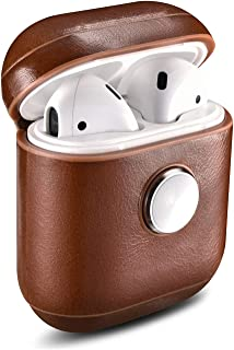 Airpods Case,taStone Retro Leather AirPods Case with Fingertip Gyro Bluetooth Headset Storage Box Shockproof Cover Portable & Protective Bluetooth Earphone Set for for Apple Airpods 2 & 1,Dark Brown