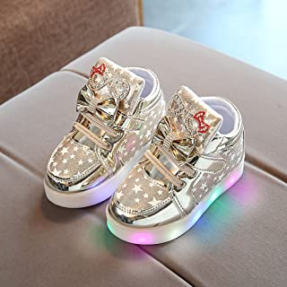 Sunward 1-6 Years Toddler Baby Fashion Sneakers Star Luminous Child Casual Colorful Lighting Shoes