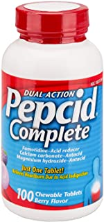Pepcid Complete Dual Action Acid Reducer and Antacid Berry Flavored Chewable Tablets 100 Count Bottle by Pepcid Complete