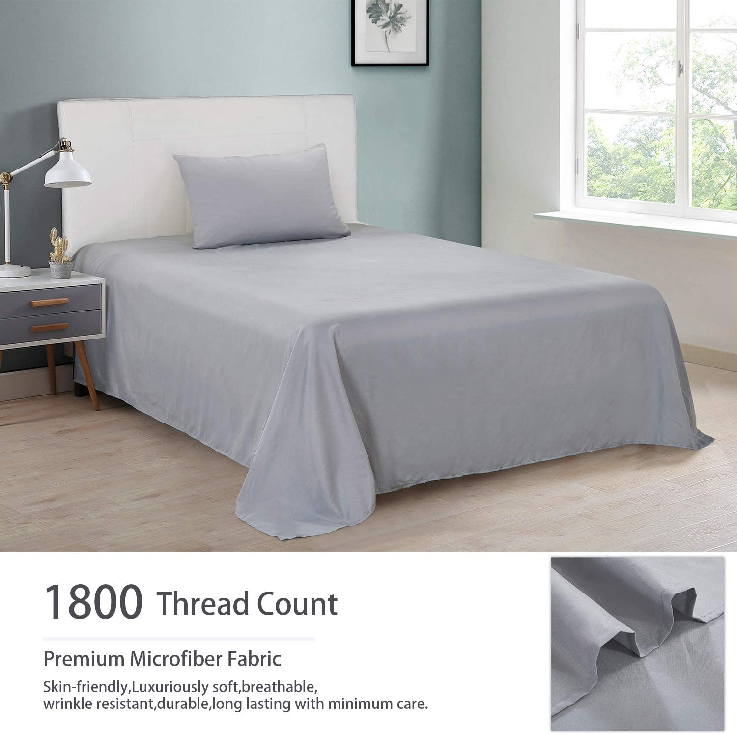 Stain Resistant Breathable Cooling Sheets,Soft Brushed Microfiber Fabric Mattress Sheets SVOHZAV Bed Sheet Set Hypoallergenic,Easy Fit 3 Piece,16-Inch Deep Pocket,Wrinkle Fade Gray, Twin