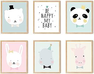 TwoDays Nursery Wall Art, Woodland Baby Nursery Décor, Cute Animal Canvas Wall Art for Girls Bedroom   Set of 6(UNFRAMED)8 x 10 inches - 5 pics of Polar Bear, Giraffe, Panda, Bunny, Hippo and 1 pics of love word.
