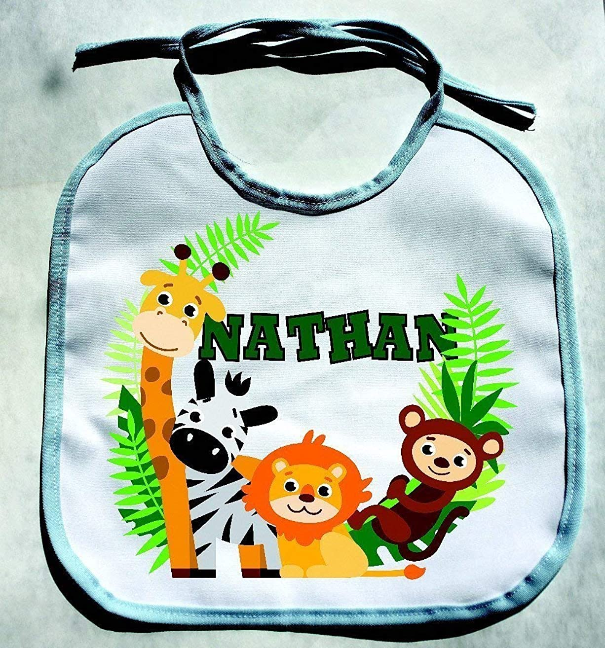 PERSONALIZED CUSTOM NAME Jungle Zoo Animals Baby Boy Bib Shower Gift bibs