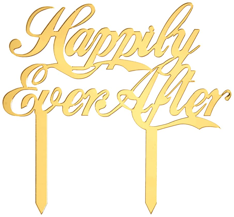 Mirror Gold Acrylic Wedding Cake Topper Party Decoration Cupcake Stand (Mirror Gold - Happily Ever After)