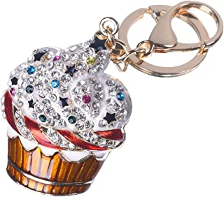 Girl's Ice Cream Keychain Gold Plated Bag Charm Cute Car Key Ring Crystal Purse Pendant #51618