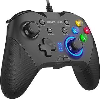 OPOLAR 有線ゲームコントローラー PC usbゲームパット 背面ボタン キーの組み合わせ機能・二重HD振動・Turbo連射・LEDバックライト・JD-SWITCH機能 プログラムボタンを割り当て PCゲーム用 Direct Input/X...