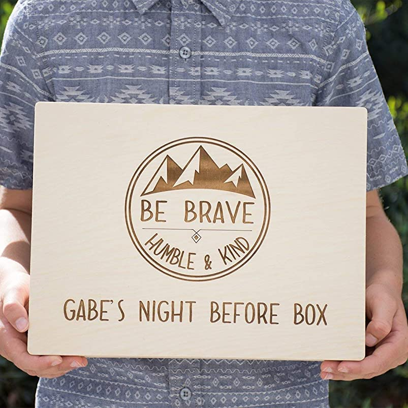 Personalized Engraved Wood - Night Before Box - Custom Child Gift Box - Be Brave, Humble & Kind - Mountains nptsgjho448758