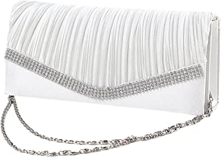 Elegant Satin Diamante Pleated Evening Clutch Bag Bridal Handbag Prom Purse New - White
