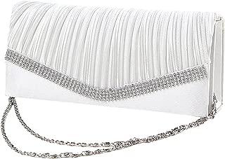 Elegant Satin Diamante Pleated Evening Clutch Bag Bridal Handbag Prom Purse New - White