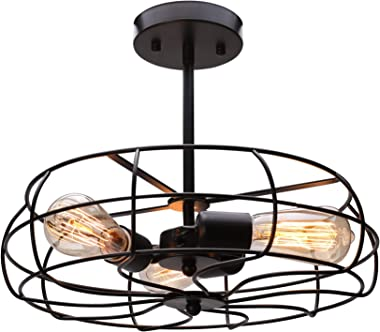"CO-Z 3 Light Industrial Cage Ceiling Light, 15"" Rustic Retro Wired Chandelier for Bedroom, Dining Room, Living Room, Farmhouse Lighting, ORB Finished Metal Fan Shade Pendant Lamp Fixture"