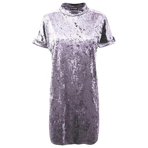 e06d9c4a2d4 Be Jealous Ladies Womens Side Pockets Crushed Velvet Velour Turn up Sleeve  Baggy Mini Dress UK