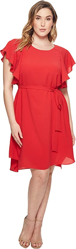 Adrianna Papell Plus Size Gauzy Crepe A-Line Dress with Short Flutter Sleeves, Bateaux Neckline, and Shirt Tail Hem, Partially Lined with Belted Tie