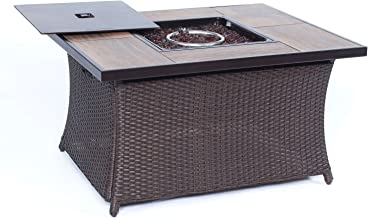 Cambridge 40,000 BTU Woven Fire Pit Coffee Table with Wood Grain Tile Top