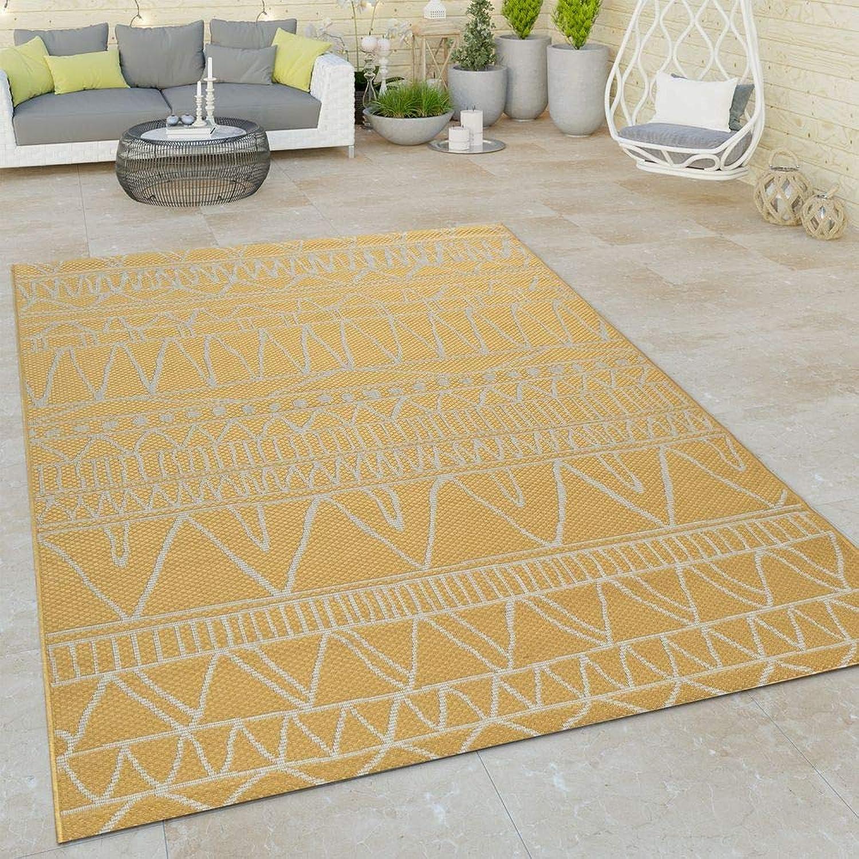 Paco Home In- & Outdoor Flachgewebe Teppich Modern Ethno Muster Zickzack Design In Gelb, Grsse 240x340 cm