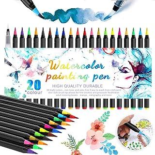 Pinceau Aquarelle, 20 Feutre Aquarellable et 1 Aqua Brush, Feutre Coloriage pour Peinture Aquarelle Calligraphie Bullet Jo...