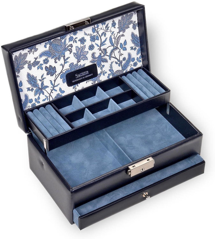 SACHER Schmuckkoffer Helen florage blau Echt Leder Handmade in Germany Schmuckaufbewahrung