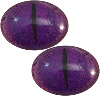 Purple Dragon Oval Glass Eyes Fantasy Taxidermy Art Doll Making, Fantasy Sculptures or Jewelry Crafts Set of 2 (30mm x 40mm)