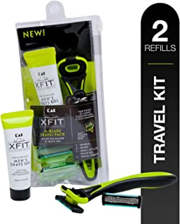 About Face XFIT Men's Grooming Travel Pack; Includes One Disposable Razor Handle, Two 4-Blade Cartridges, One .67 oz