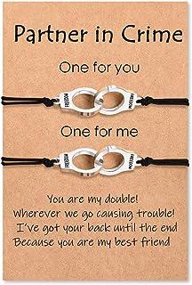 MANVEN Partners in Crime Bracelets for 2 Best Friend Handcuff Matching Friendship Bracelets for Women Men Girls Boys Couples Bestie