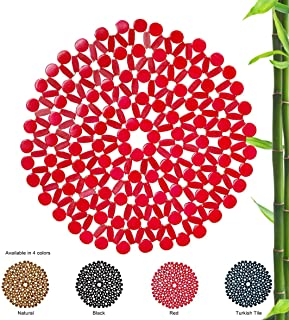 LUX LOVE LIFE LUXURY Round Shaped Bamboo Placemat (Red Color) | 4 Pack Assortment (11.8