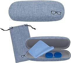 Fundas de Gafas Mujer, Lindo Estuche de Lentes Azul Niñas Hombres con Estuche Lentes de Contacto, Paño de Limpieza para Lentes, Color Aleatorio Estuche para Lentes de Contacto, 4 Piezas