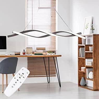 47 inch Modern LED Pendant Lighting, Wave Shape Ceiling Light Stepless Dimming Decorative Chandelier with Remote Control 46W