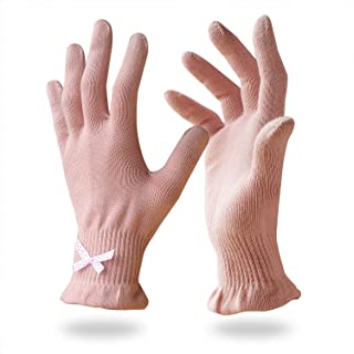 EvridWear 6 Pr/Pack Beauty Cotton Gloves with Touchscreen Fingers for SPA, Eczema, Dry Hands, Hand Care, Day and Night Moisturizing,3 Sizes in Feather or Light Weight (XS, Light Weight Pink Color)