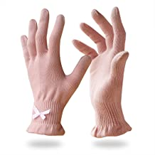 EvridWear Beauty Cotton Gloves with Touchscreen Fingers for SPA, Eczema, Dry Hands, Hand Care, Day and Night Moisturizing, 3 Sizes in Feather or Light Weight (6 pair L/XL, Feather Weight Pink Color)